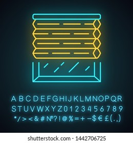 Cellular shades neon light icon. Window blinds. Room darkening jalousie. Office, kitchen, bedroom interior decoration. Glowing sign with alphabet, numbers and symbols. Vector isolated illustration