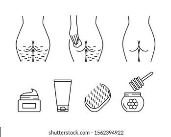 Cellulite treatment vector icons set
