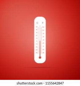 Celsius and fahrenheit meteorology thermometers measuring heat and cold icon isolated on red background. Thermometer equipment showing hot or cold weather. Flat design. Vector Illustration