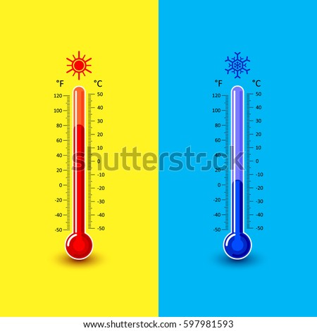celsius fahrenheit thermometer showing warm cold stock vector
