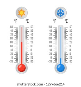 Celsius and Fahrenheit thermometer vector illustration isolated on white background. Flat design