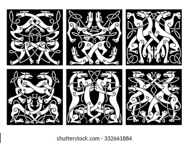 Celtic animal knot patterns with playing wolves or dogs, decorated by geometric tribal ornaments, for tattoo or heraldic coat of arms design