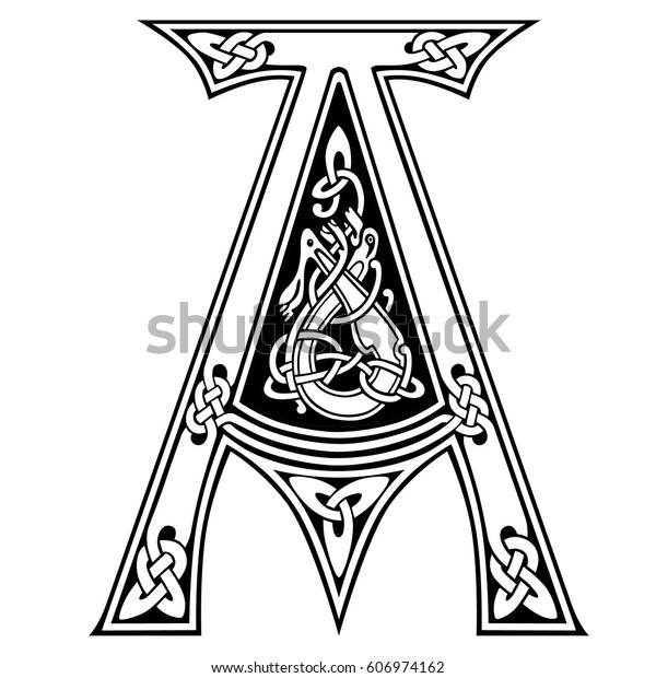 celtic art tattoo fonts knot ornate stock vector  royalty