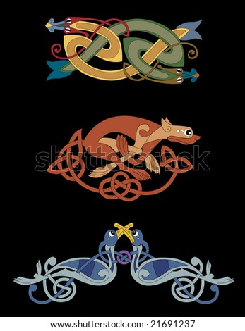 Celtic Beasts Including 2 Snakes Intertwined A Lioness And Birds
