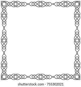 Celtic black square frame. Isolated monochrome vector image on white background.