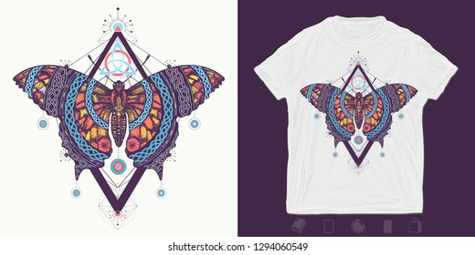 Celtic butterfly. Print for t-shirts and another, trendy apparel design. Mystical symbol of freedom, nature, tourism. Beautiful Swallowtail