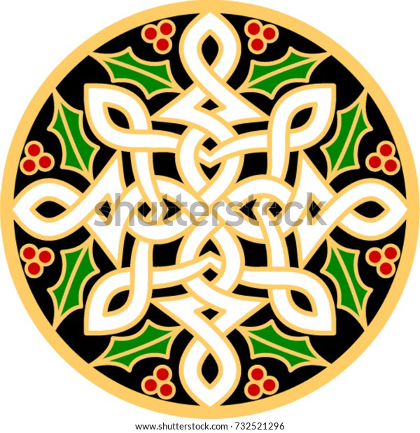 Celtic Christmas.Celtic Christmas Cross Stock Vector Royalty Free 732521296