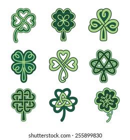 Celtic clover patterns. Clover vector set.