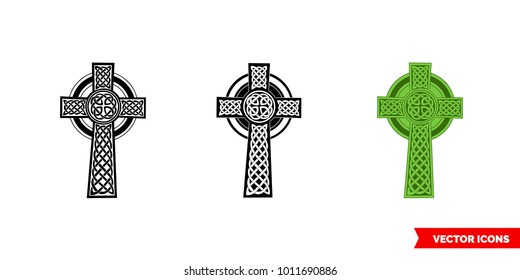 Celtic cross icon of 3 types: color, black and white, outline. Isolated vector sign symbol.
