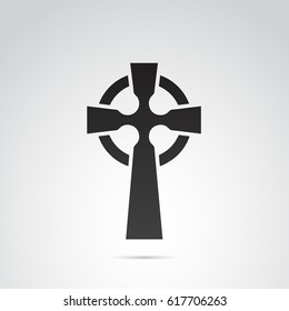 Celtic cross icon isolated on white background.