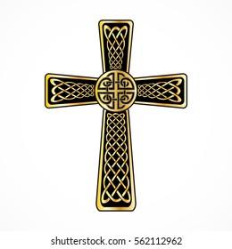 Celtic cross on the white background for design. Vector illustration