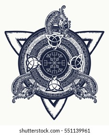 Celtic cross tattoo art and t-shirt design. Dragons, symbol of the Viking. Helm of Awe, aegishjalmur, celtic trinity knot