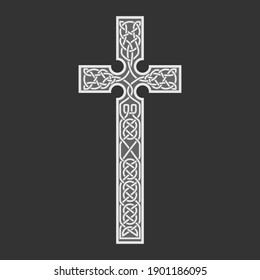 Celtic cross, vector isolated, handmade on a dark background