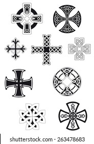 Celtic crosses with traditional ethnic knot ornament isolated on white background for religious or ethnic decoration design