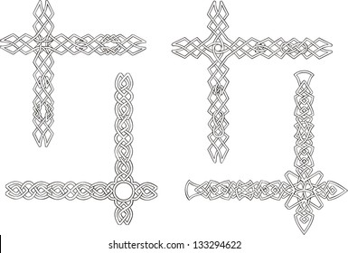 Celtic decorative knot corners. Black and white vector decorations.