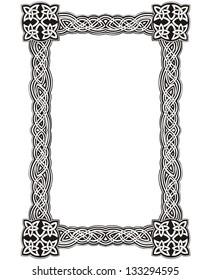 Celtic decorative knot frame. Black and white vector decoration.