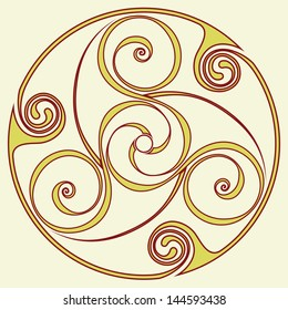 Celtic disk ornament - inspirited by bronze disc from the before Christian era - the triple spiral symbol is often associated with Gaelic pagan holy sites