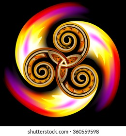 Celtic disk ornament with triple spiral symbol and flames, vector image.