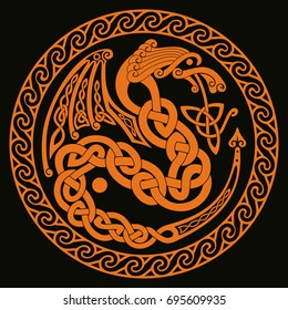 Celtic Dragon with national ornament interlaced tape.