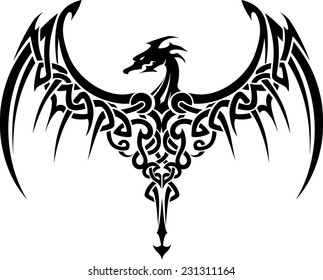 Celtic Dragon Wings Tattoo