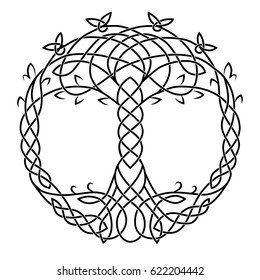 A Celtic drawing is a symbol of the tree of life. Black isolated picture on white background. Node, leaf, roots, trunk, branch, binding, thread, pattern, pigtail.
