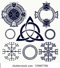 Celtic elements tattoo and t-shirt design. Helm of Awe, aegishjalmur, celtic trinity knot