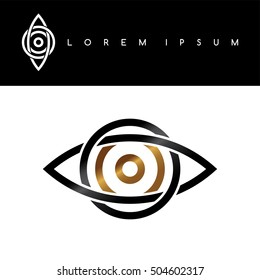 celtic eye symbol gold black monochromatic abstract concept logo logotype