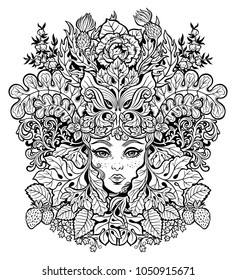 Celtic fairy green elf. Shaman woman with the crown of leaves, flowers. Forest nature sprite and tree spirit. Pixie pagan princess. Alchemy, tattoo, print, t-shirt design. Isolated vector magic art.