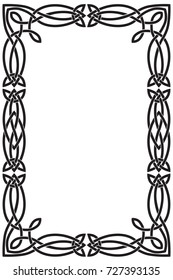 Celtic frame is rectangular vertical. Black vector isolated image on white background.