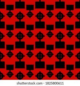 Celtic grave cross black on red background,texture for design,seamless pattern,vector illustration