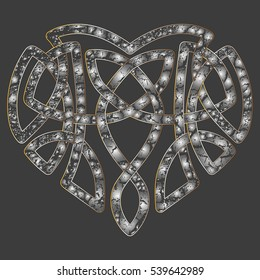 Celtic heart, intertwine knot ethnic symbol