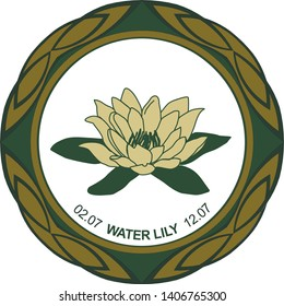 Celtic horoscope floral. Druid logo in a circle. Water Lily Flower: July 2-12. Astrological calendar. Botanical drawing of a nymphaea.