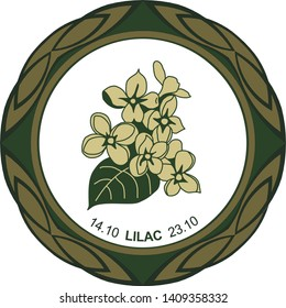 Celtic horoscope floral. Druid logo in a circle. Lilac flower: from 14 to 23 October. Astrological calendar. Botanical drawing common lilac