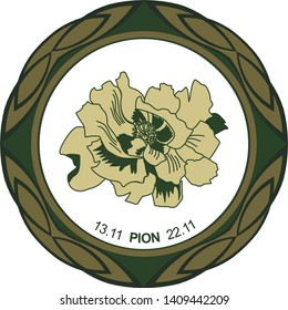 Celtic horoscope floral. Druid logo in a circle. Peony flower: from 13 to 22 November. Astrological calendar. Botanical drawing tree pion