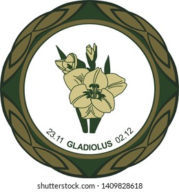Celtic horoscope floral. Druid logo in a circle. Gladiolus flower: from November 23 to December 2. Astrological calendar. Botanical drawing of gladiolus garden