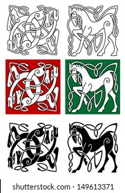 Celtic horse and abstract monster with ornament in medieval style. Jpeg version also in gallery