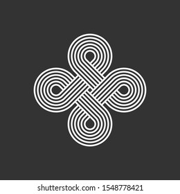 Celtic interlocking knot. Endless loop. Infinite loop sign. Old ornament strip. Eternity line. Interconnected circular shapes. Abstract perpetual motion icon.Bowen cross symbol.Vector illustration.