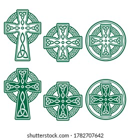 Celtic Irish cross vector retro design set in green - St Patrick's Day celebration in Ireland. Irish, Scottish and Welsh crosses with celtic patterns and knots collection