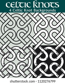Celtic Knot Backgrounds. 4 different versions of a seamless pattern with Celtic knots: with white filling, without filling, with shadows and with a black background.