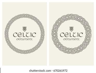 Celtic knot braided frame border ornament. A4 size. Vector illustration.