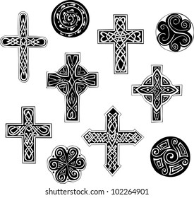 Celtic knot crosses and spirals. Set of black and white vector illustrations.