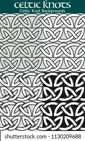 Celtic Knot Pattern. 4 different versions of a seamless pattern with Celtic knots: with white filling, without filling, with shadows and with a black background.