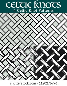 Celtic Knot Patterns. 4 different versions of a seamless pattern with Celtic knots: with white filling, without filling, with shadows and with a black background.