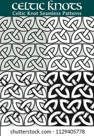 Celtic Knot Seamless Pattern. 4 different versions of a seamless pattern with Celtic knots: with white filling, without filling, with shadows and with a black background.