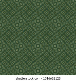 Celtic Knot Seamless Pattern - Beautiful gold Celtic knot on solid background