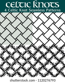 Celtic Knot Seamless Patterns. 4 different versions of a seamless pattern with Celtic knots: with white filling, without filling, with shadows and with a black background.