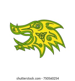 Celtic knot stylized  illustration of a wild boar, wild pig, hog or razorback head viewed from side done in  plait work or knotwork woven into unbroken cord design.