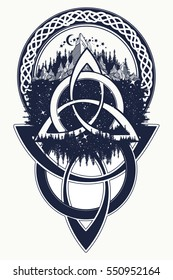 Celtic knot tattoo. Mountain, forest, symbol travel,  symmetry, tourism t-shirt design ethnic style