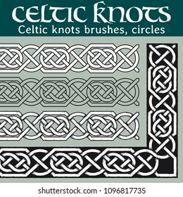 Celtic knots brushes, circles. 4 different versions of a brush: with white filling, without filling, with shadows and with a black background. All brushes include outer and inner corner tiles.