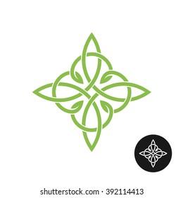 Celtic knots elegant weave cross logo. Mono line decoration.